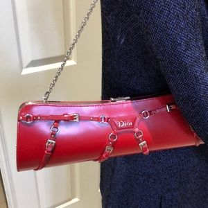 2387abccbbf1 Dior Bags - Dior Vintage Red Leather Clutch w  Shoulder Chain